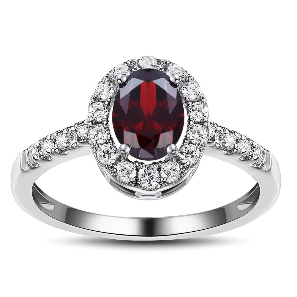 Oval Cut Garnet 925 Sterling Silver Birthstone Ring