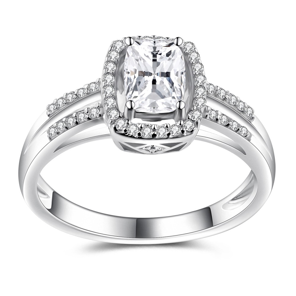 Cushion Cut White Sapphire 925 Sterling Silver Women's Engagement Ring
