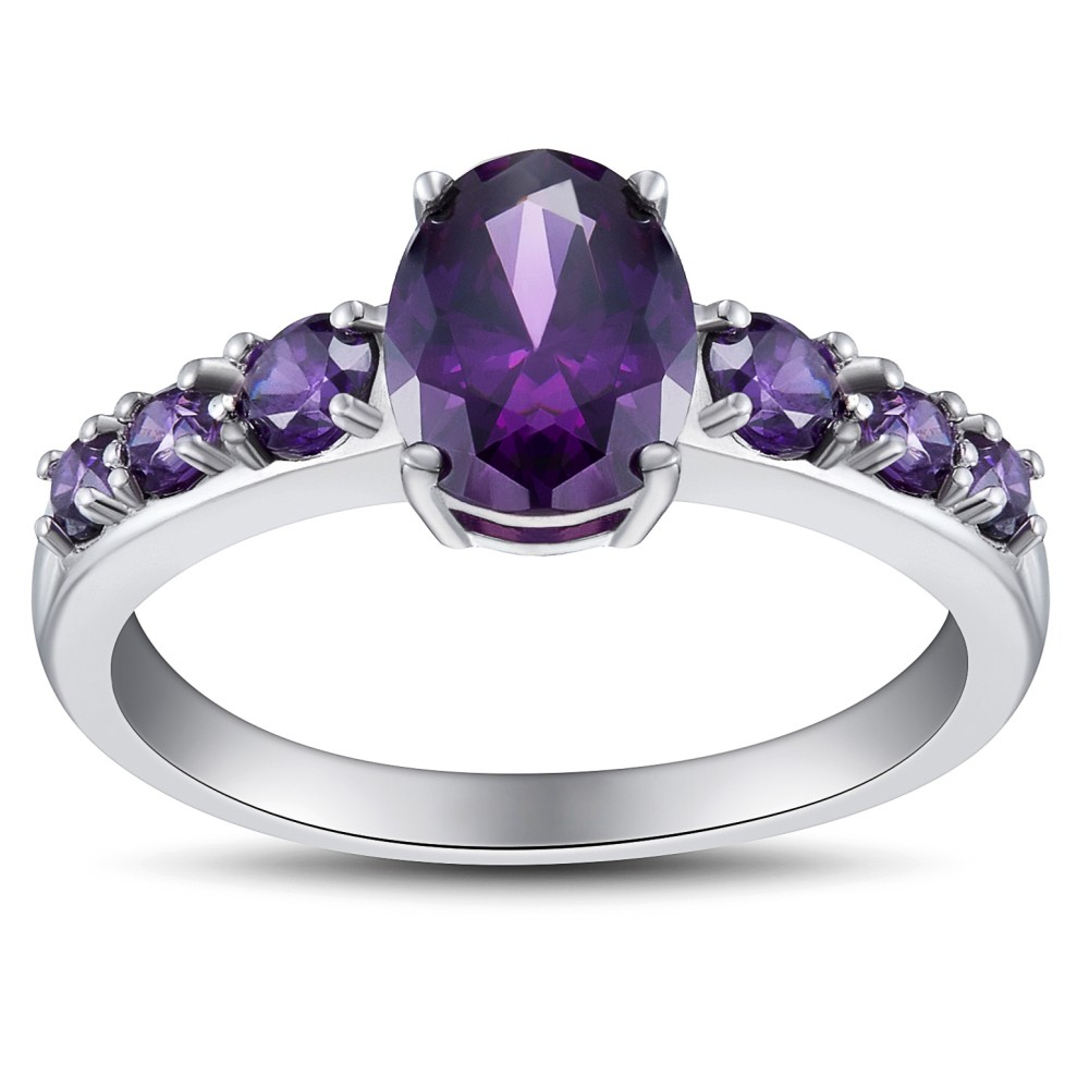 Women's Oval Cut Amethyst 925 Sterling Silver Engagement Ring
