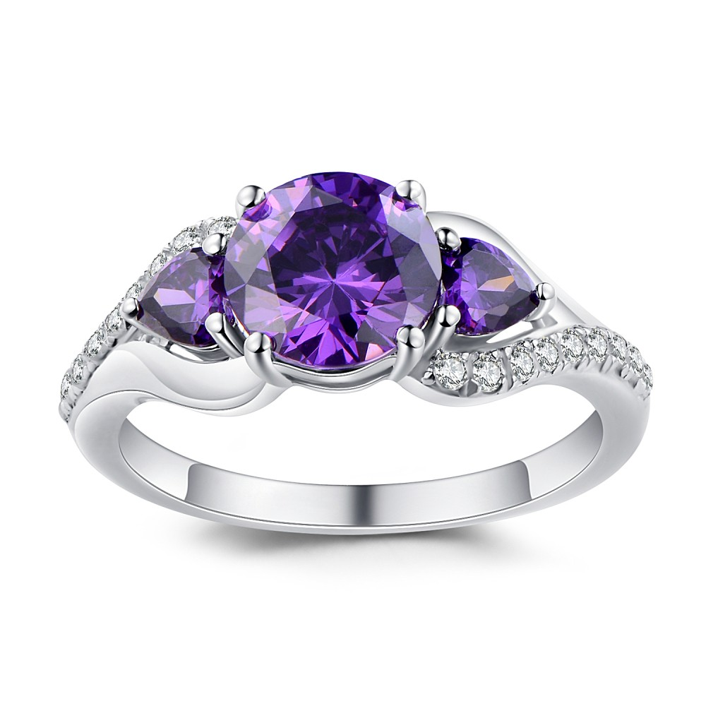 sterling amethyst asscher lajerrio rings engagement jewelry ring purple cut rose gold silver