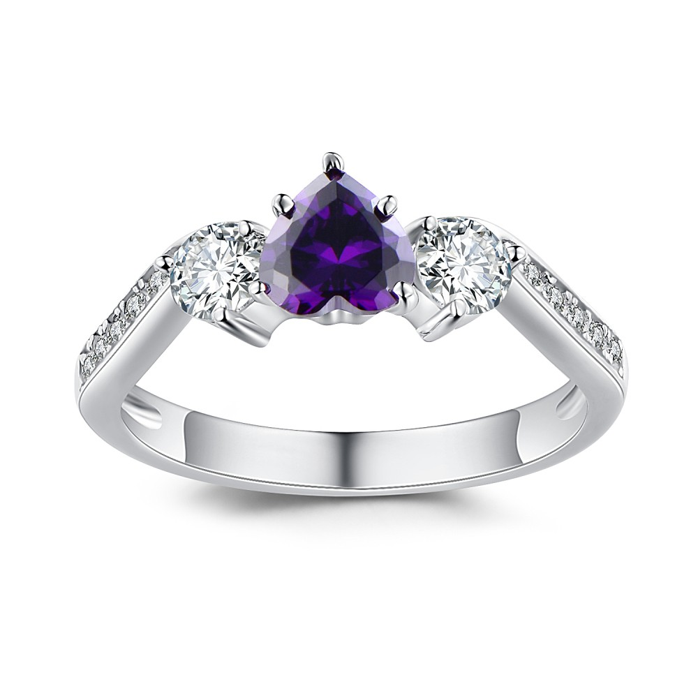 heart cut amethyst 925 sterling silver birthstone rings lajerrio