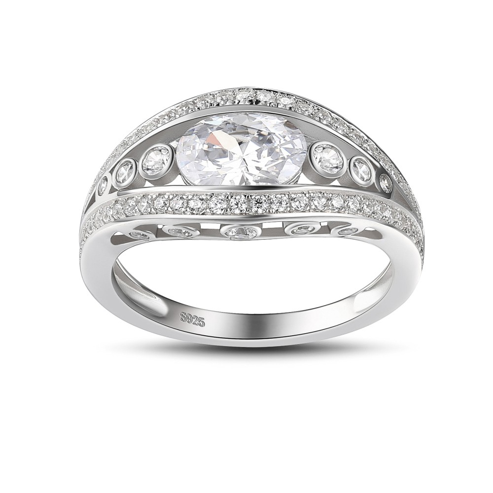 Round Cut 925 Sterling Silver White Sapphire Engagement Ring