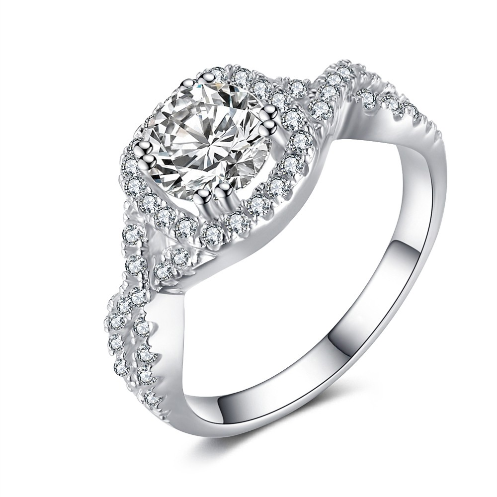cut white sapphire 925 sterling silver engagement