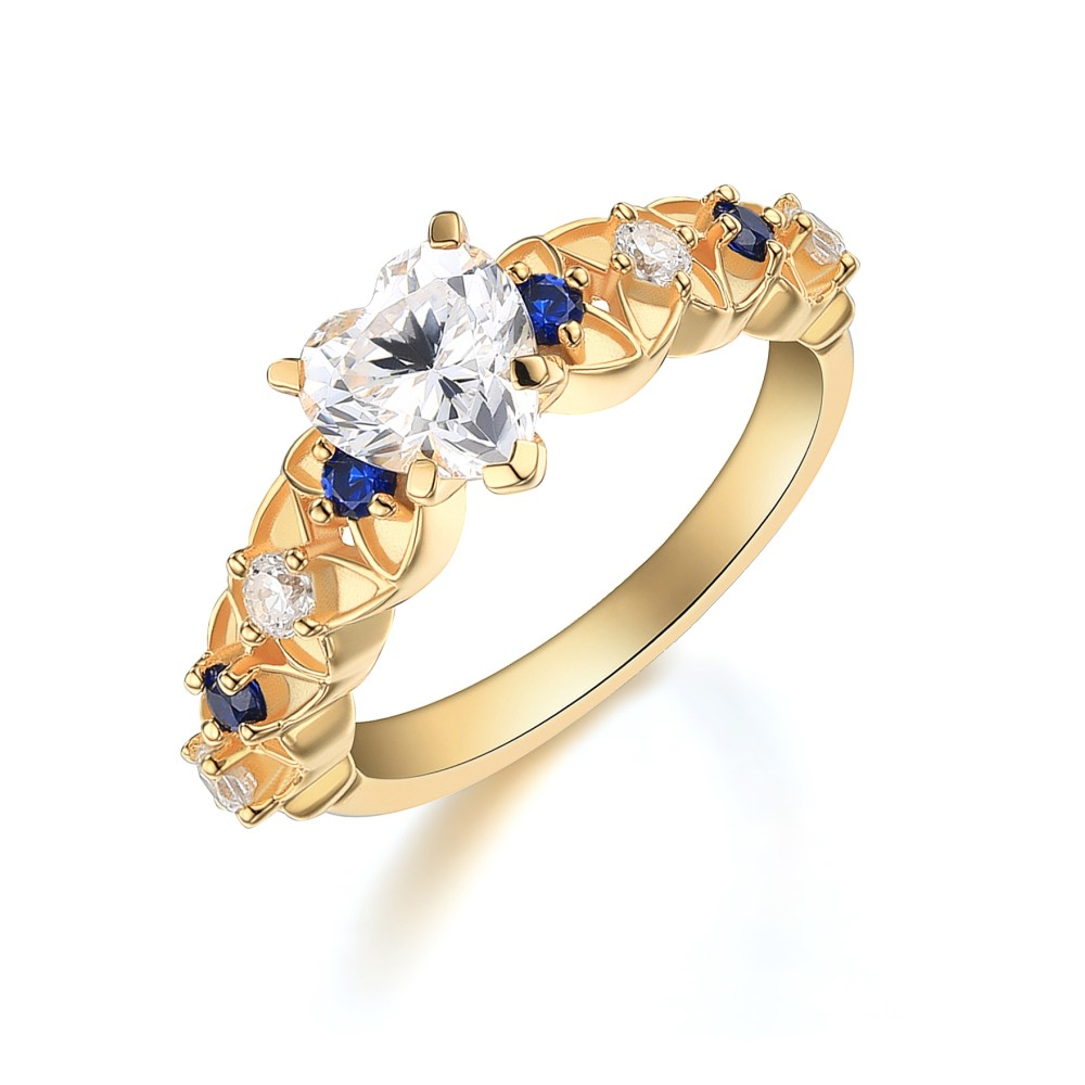 Heart Cut White Sapphire Gold 925 Sterling Silver Engagement Ring