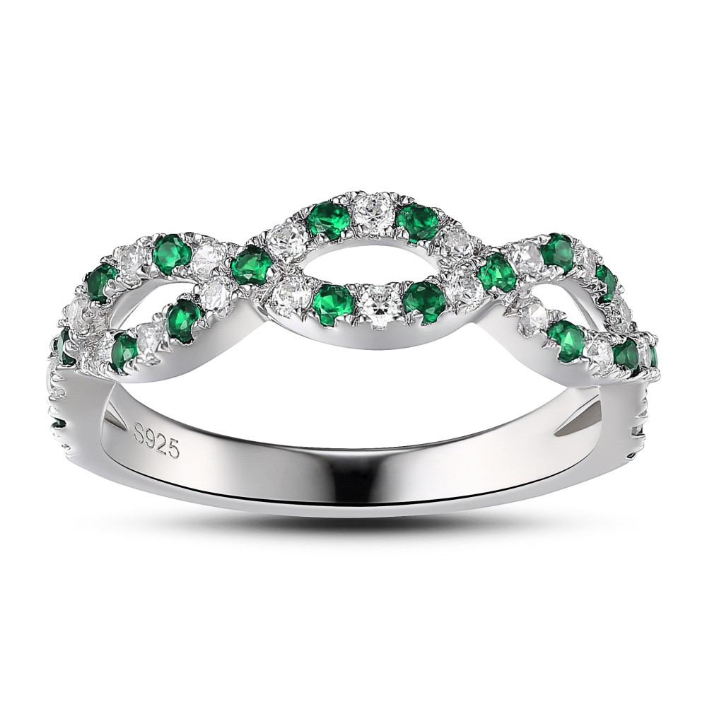 Emerald Green 925 Sterling Silver Womens Engagement Ring