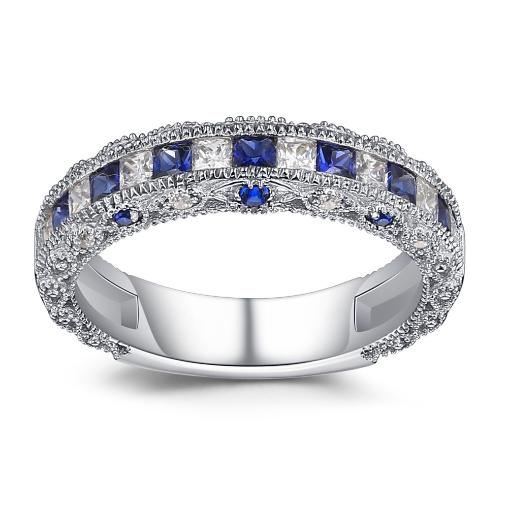 Princess Cut Sapphire 925 Sterling Silver Womens Wedding Bands