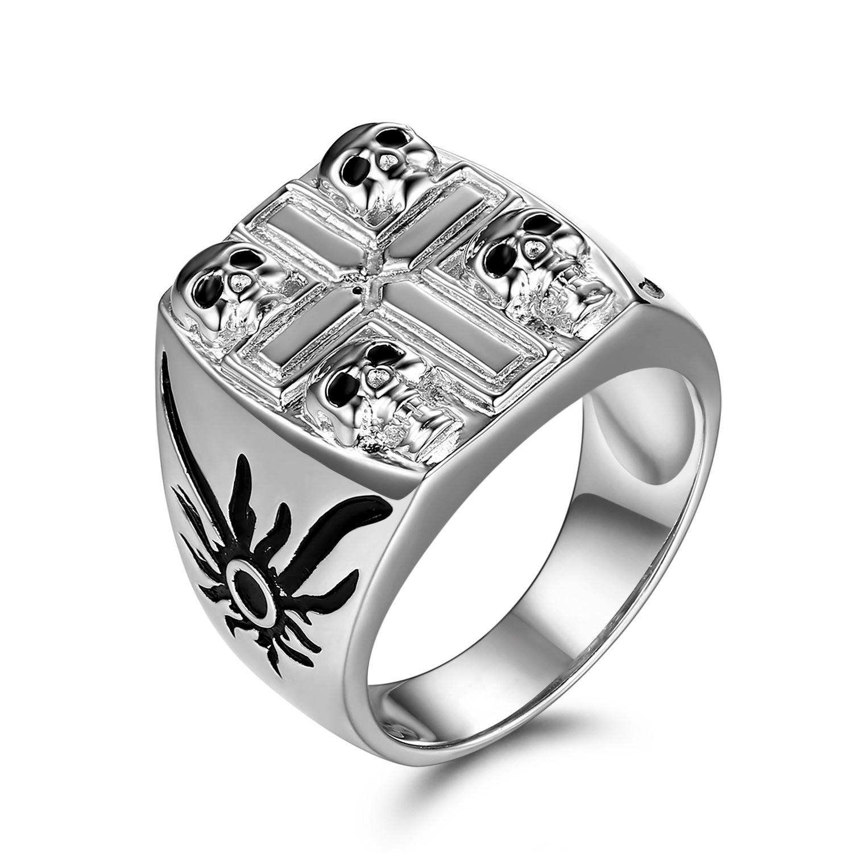 Black Gemstone Sterling Silver Four Skull Ring
