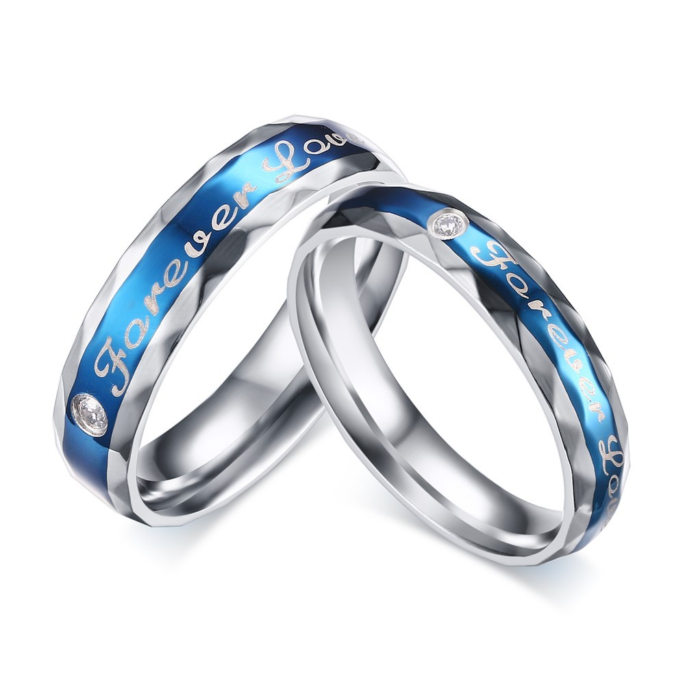 Blue Forever Love Titanium Steel Round Cut Gemstone Promise Ring for Couples