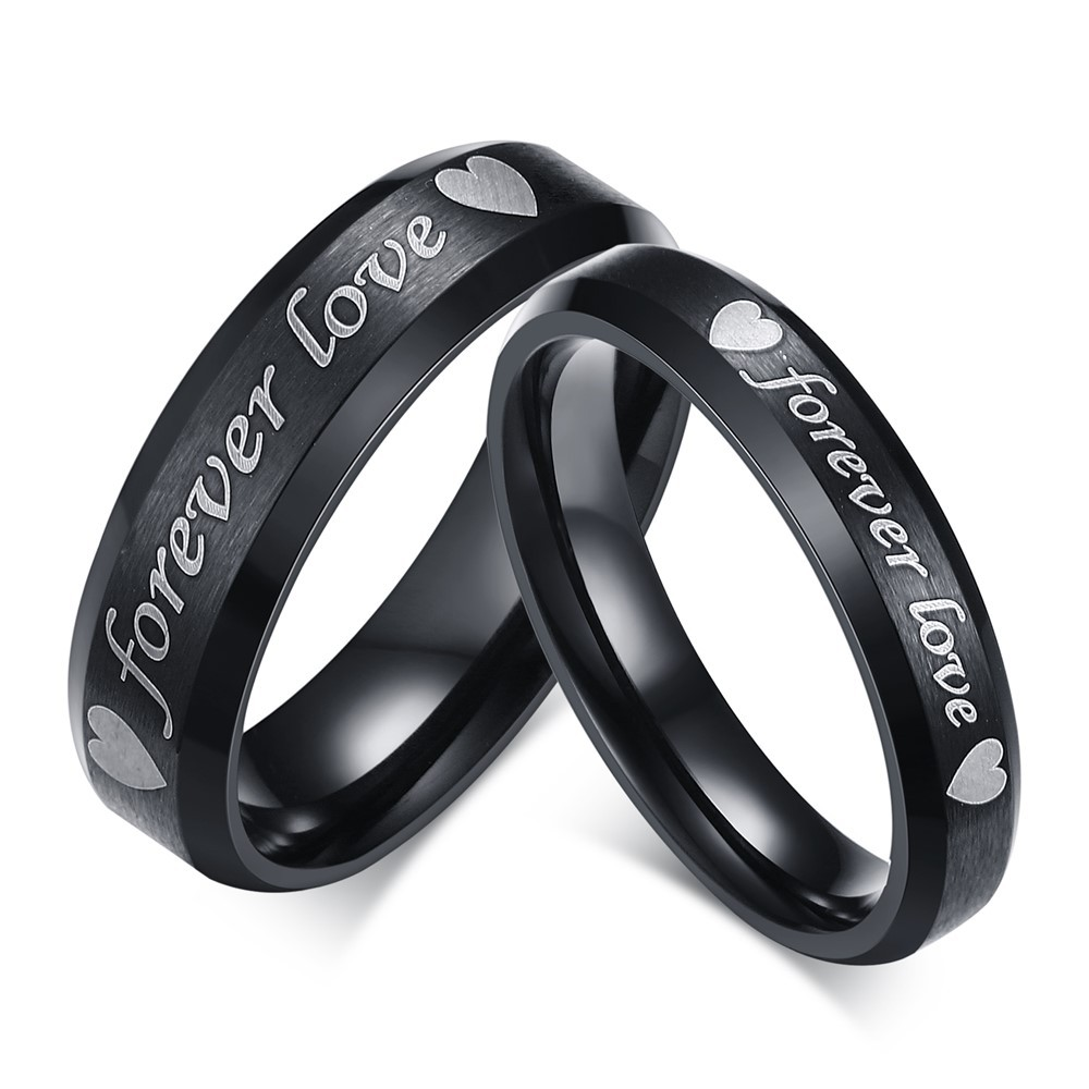 cute forever love black titanium steel promise ring for