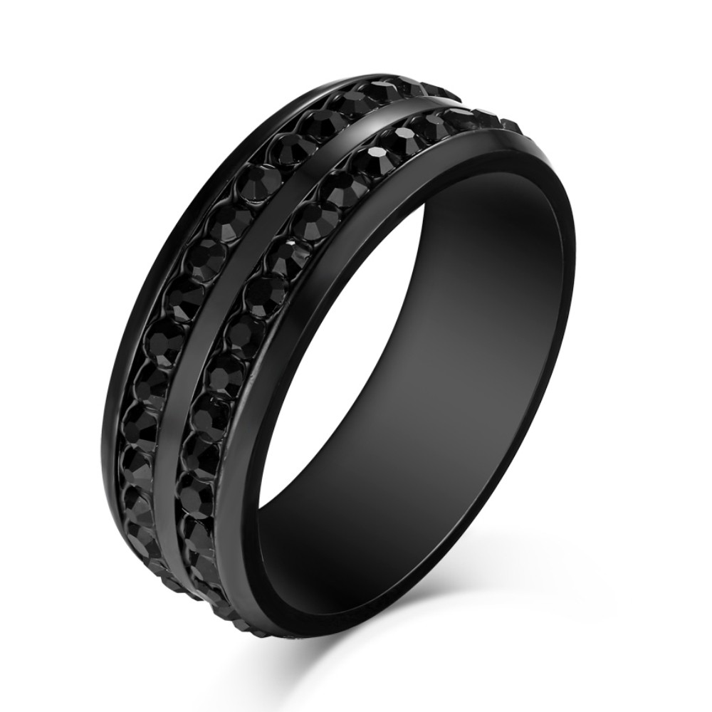 Round Cut Black Gemstone Titanium Steel Men's Ring