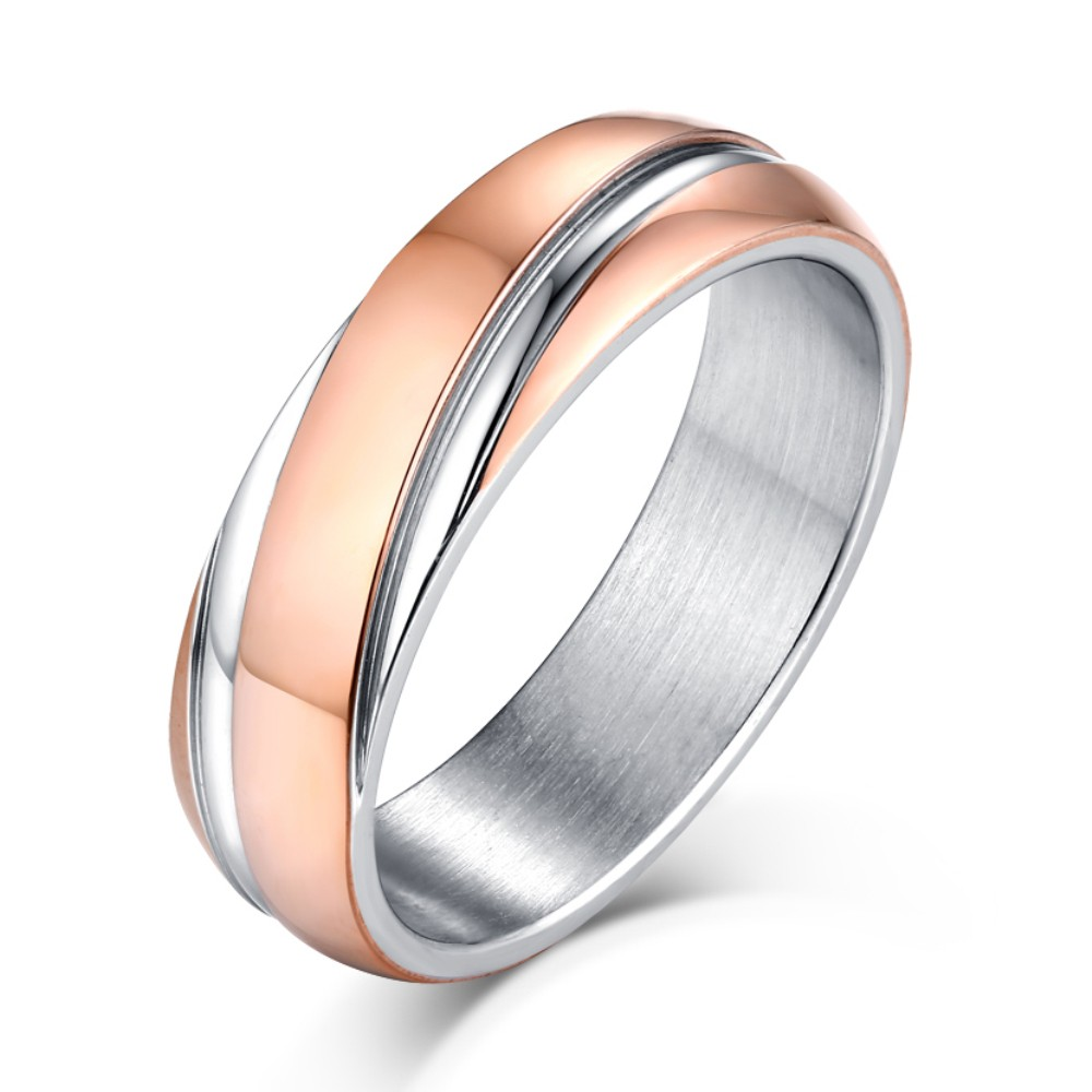 rose gold and silver wedding rings gold and silver titanium steel men s ring lajerrio 7114