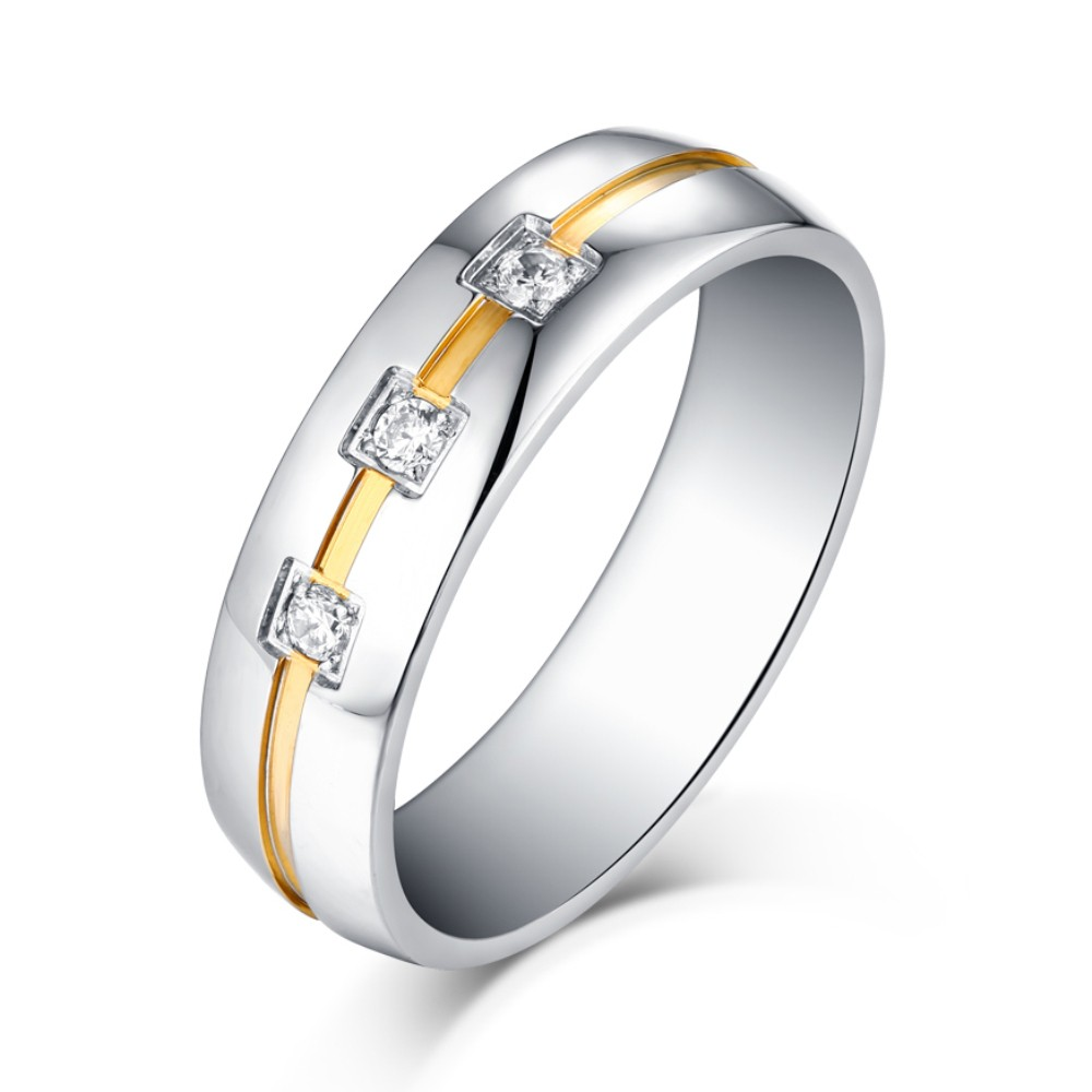 Princess Cut Gemstone Silver and Gold Titanium Steel Wedding/Engagement Ring