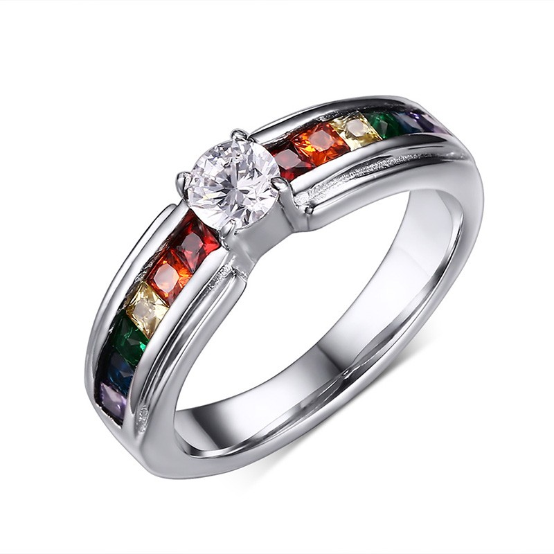 silver for color anel ring love prongs bague women item jewelry engagement setting flower rings rainbow