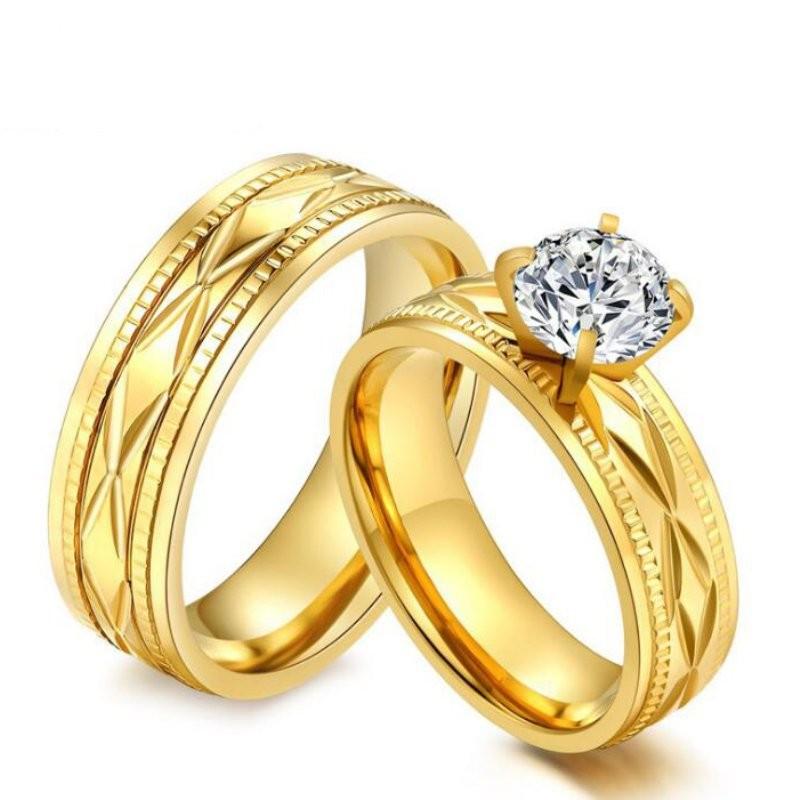 cut white sapphire titanium steel gold promise rings