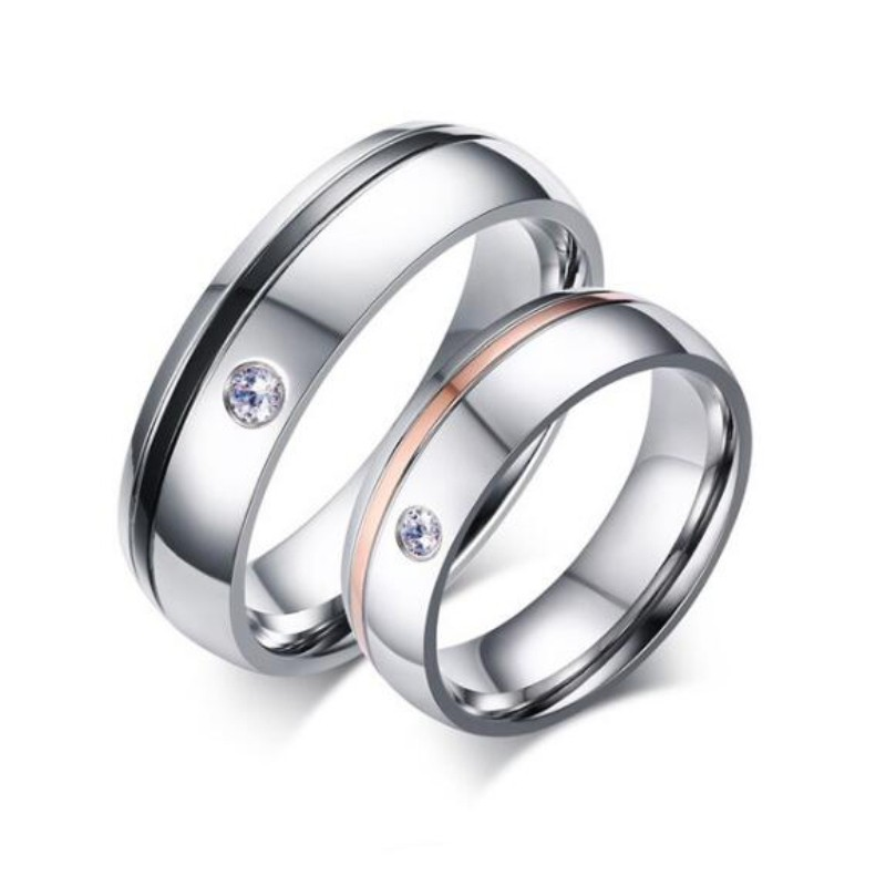 Black Rose Gold Silver Titanium Steel Promise Rings for Couples