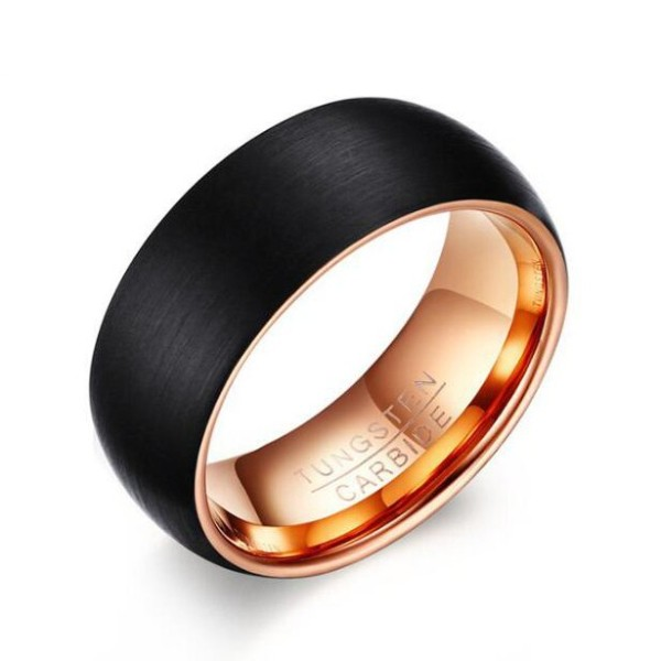 Excellent Tungsten Rose Gold & Black Men's Ring - Lajerrio Jewelry KO69