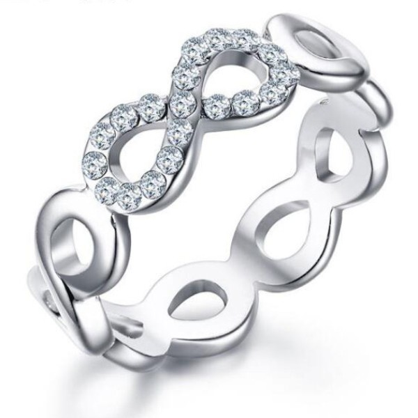 titanium infinity round cut white sapphire silver promise