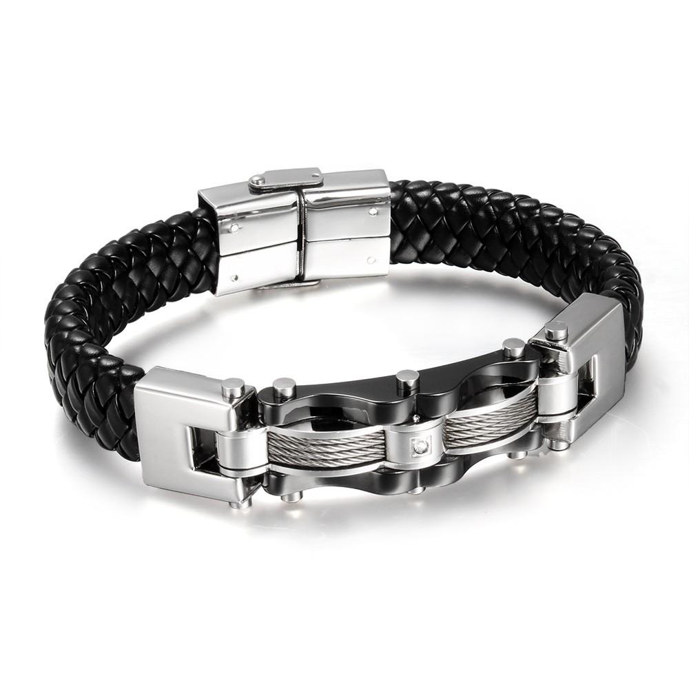 Black Leather 925 Sterling Silver Bracelet
