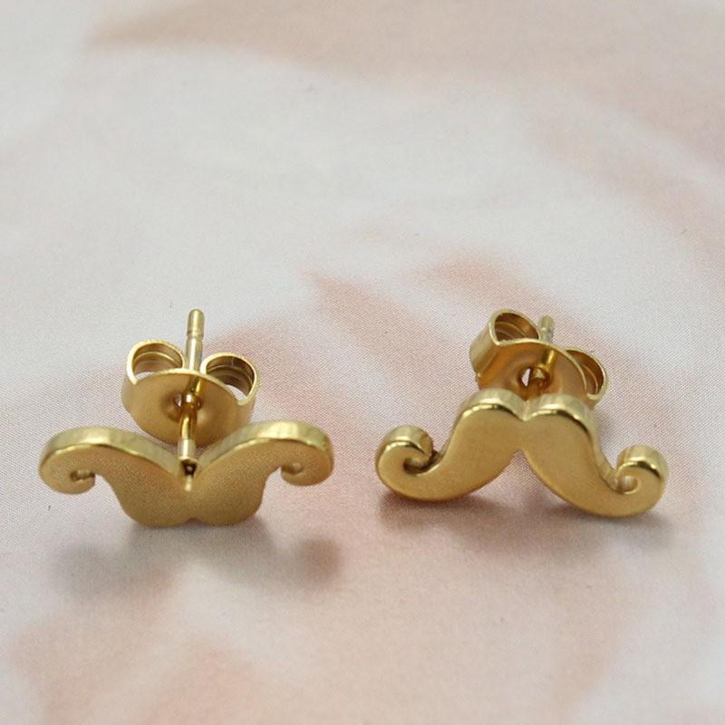 Moustache Design Gold 925 Sterling Silver Earrings