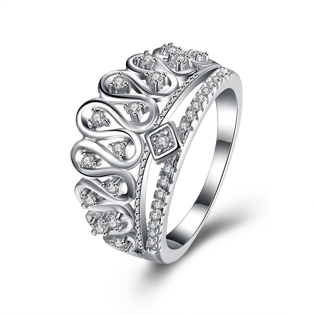 crown cut white sapphire s925 silver promise rings
