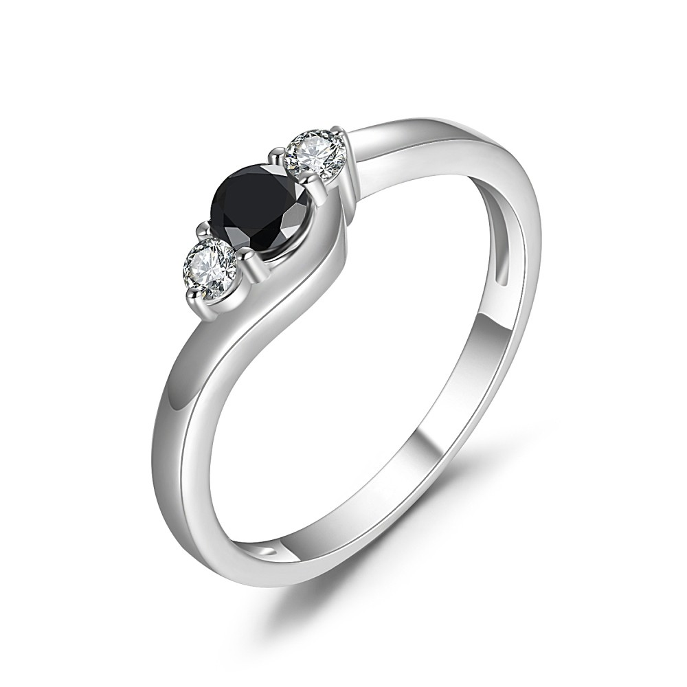 Round Cut 1/4CT Black Gemstone Sterling Silver Engagement Ring