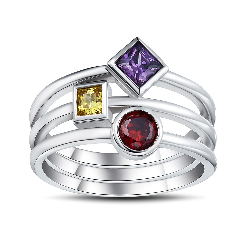 Multicolor Princess Cut Gemstone Sterling Silver Cocktail Ring