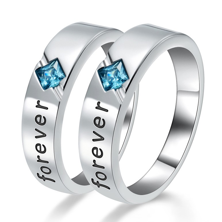Cushion Cut Gemstone 925 Sterling Silver Promise Rings For Couple