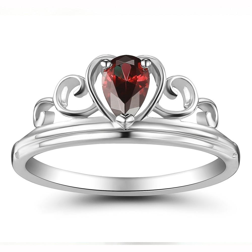 Ruby Heart Style 925 Sterling Silver Women's Ring