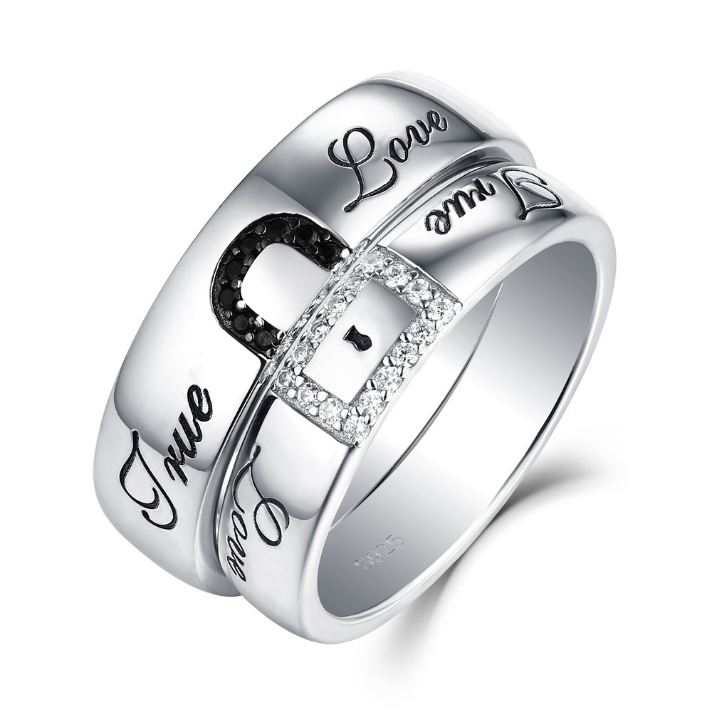 """True Love"" Lock White and Black Sapphire s925 Silver ..."