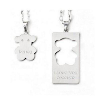 Cute S925 Silver Personalized Engravable Couple Necklaces