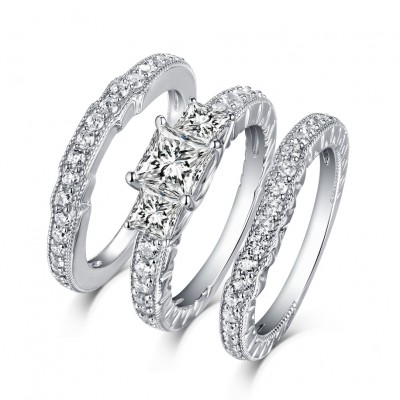 Princess Cut S925 Silver White Sapphire 3-Stone 3 Piece Ring Sets