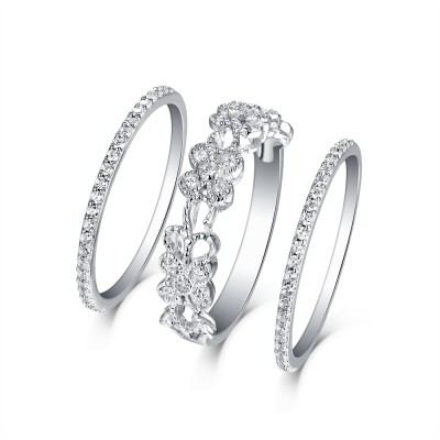 Round Cut White Sapphire S925 Silver Art Deco 3 Piece Ring Sets