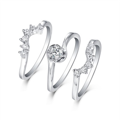 Art Deco Round Cut White Sapphire S925 Silver 3 Piece Ring Sets