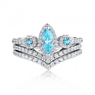 Marquise Cut Aquamarine & White Sapphire S925 Silver 3 Piece Ring Sets