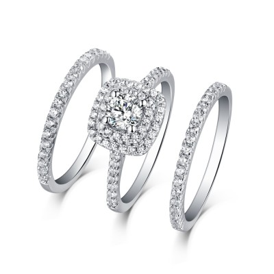 Round Cut White Sapphire 3 Piece 925 Sterling Silver Halo Ring Sets ...