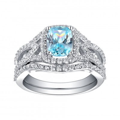 Emerald Cut 925 Sterling Silver Aquamarine Halo Ring Sets ...