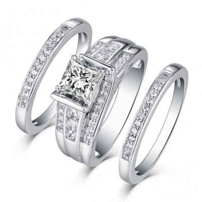 princess cut 925 sterling silver white sapphire 3 piece ring sets - Cheap Wedding Rings