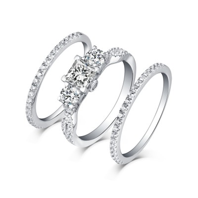 Princess Cut S925 Silver White Sapphire 3 Piece 3-Stone Ring Sets