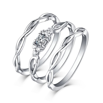 Shining Princess Cut White Sapphire 925 Sterling Silver 3 Piece Ring Sets