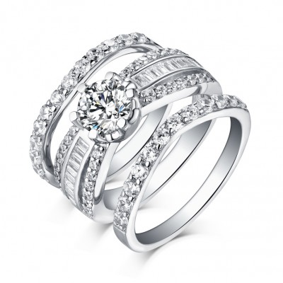 Round Cut White Sapphire 3 Piece 925 Sterling Silver Ring Sets