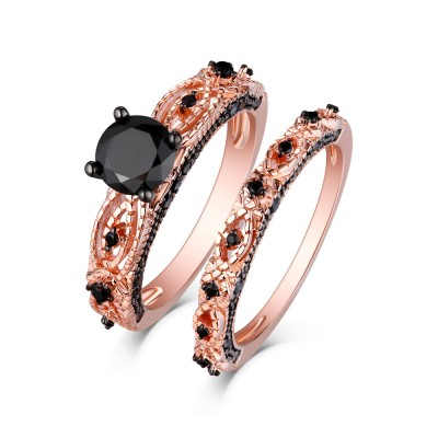 Round Cut Rose Gold S925 Silver Black Sapphire Art Deco Ring Sets