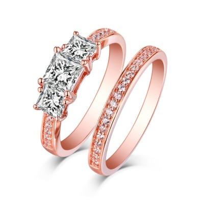 Princess Cut Rose Gold S925 Silver White Sapphire 3-Stone Ring Sets
