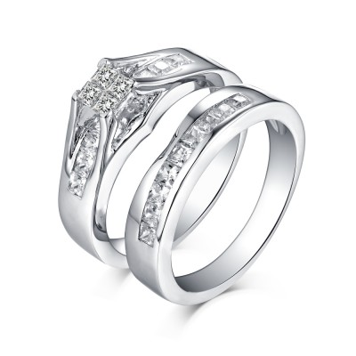 Classic Princess Cut 925 Sterling Silver White Sapphire Ring Sets