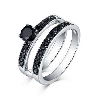 Art Deco Round Cut Black Sapphire 925 Sterling Silver Ring Sets