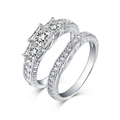 Princess Cut 925 Sterling Silver White Sapphire 3-Stone Ring Sets