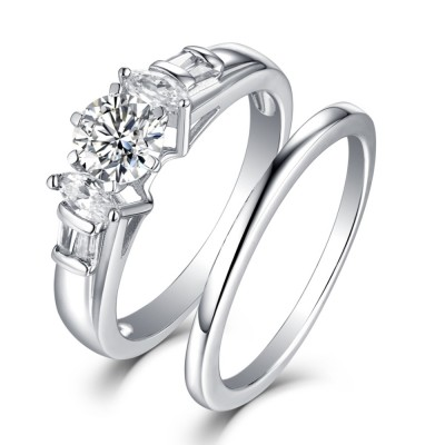 Marquise Round Cut S925 White Sapphire 3 Stone Ring
