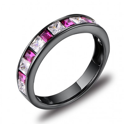 Princess Cut White Sapphire Black Sterling Silver Wedding Bands