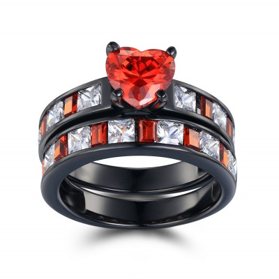 Heart Cut Ruby Black 925 Sterling Silver Women's Ring