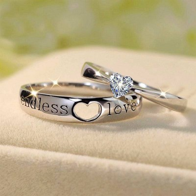 """Endless Love"" Heart Cut Gemstone 925 Sterling Silver Promise Ring For Couple"