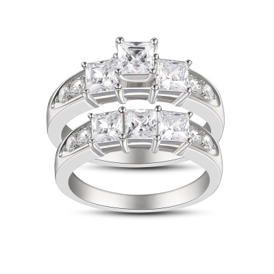 Princess Cut White Sapphire Women's 925 Sterling Silver Engagement Ring